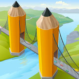 Children's Pencil Golden Gate Bridge Royalty Free Stock Photo