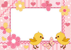 Children's photo frame. Chickens. Stock Image