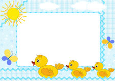Children's photo framework. Ducklings. Stock Image