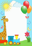 Children's photo framework. Giraffe and train. Stock Images