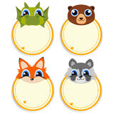 Children s photo framework with lovely faces of cartoon animals. stock illustration