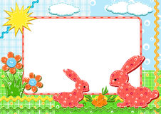 Children`s photo framework. Rabbits. Stock Photos