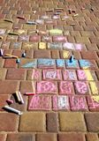 Children's picture. Picture painted by children on the sidewalk royalty free stock image
