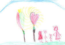 Children's picture. With a family and hearts Royalty Free Stock Photo