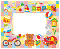Children's picture frame. Vector horizontal frame border with colorful toys drawn in cartoon-style stock illustration