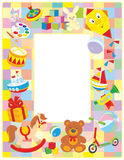 Children's picture frame. Vector vertical frame border with colorful toys drawn in cartoon-style stock illustration