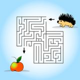 Children s picture - help to find a hedgehog apple. Vector illustration. Hand drawing.  Royalty Free Stock Photo