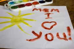 Children's picture with the words I love you mom Royalty Free Stock Photos