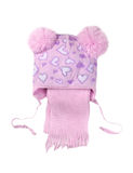 Children's pink cap with a scarf, isolate on a white background, Royalty Free Stock Image