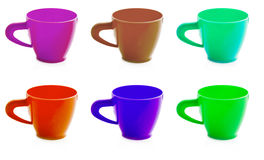 Children's plastic cups of different colors Royalty Free Stock Photos