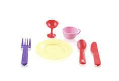 Childrens plastic tableware toys Royalty Free Stock Images