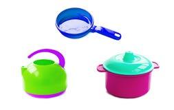 Children's plastic tea maker, pans and pan Stock Photo