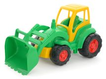 Children`s plastic toy, yellow-green bulldozer isolated on white Royalty Free Stock Photography