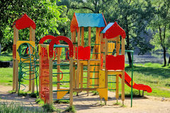 Children's plauground. Children's plauground for games on the bank of lake Royalty Free Stock Photos