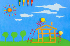 Children's play: Building a home Stock Images