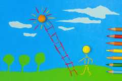 Children's play:Climbing to the sun Stock Images