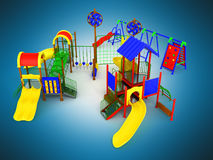 Children`s play complex 3d render on blue background Royalty Free Stock Photos