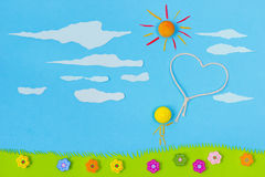Children's play: Love in the air vector illustration