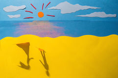 Children's play: People in love. Shadows of a man and woman reaching hands on a beach Stock Photo