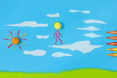 Children's play: Walking on clouds Stock Photos