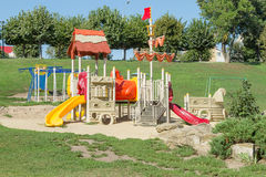 Children's playground. In the park on a bright sunny day Royalty Free Stock Images