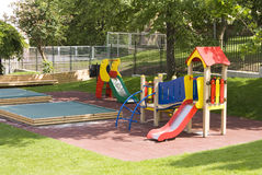 Children's playground. With teeter-totters, slide, sandpit Royalty Free Stock Images