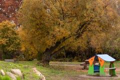 Children`s playground in autumn royalty free stock image