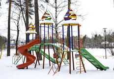 Children s playground. Bright winter Playground for active healthy babies Stock Photo