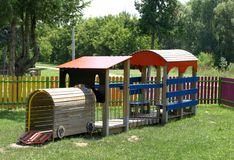 Children's playground. Cheerful children's playground is located in the park Stock Image