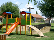 Children's playground. Cheerful children's playground is located in a wooden board Royalty Free Stock Photos