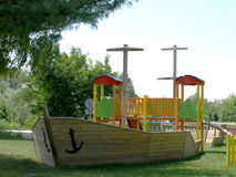 Children's playground. Cheerful children's playground is located in a wooden board Stock Images