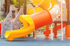 A children`s playground. A slider located on the floor.selective focus Royalty Free Stock Photo