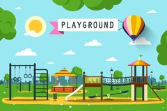Children`s Playground on City Park. Vector Flat Design Cartoon Stock Photography