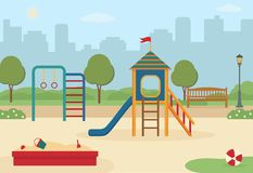 Children`s playground in the city park with toys, a slide, a sandpit. Vector illustration Stock Photo