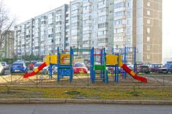 Children`s playground in the courtyard of the apartment building. Russia. Siberia. Autumn stock photography