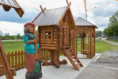 Children`s playground with heroes of Russian fairy tales on the territory of the Restaurant TAVERNA at Uncle Vity of the. Talmenka, Russia - July 11, 2015 Stock Images