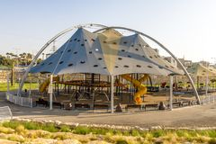 Children`s playground in the landscape park of Beer Sheva Stock Photos