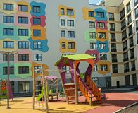 Children`s Playground in a modern residential complex stock images