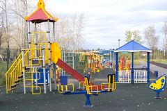 Children`s Playground on the nature of empty . royalty free stock photos
