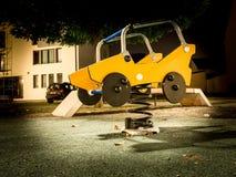 Children`s playground at night, Slavonski Brod, Croatia. October 17. 2018 royalty free stock photos