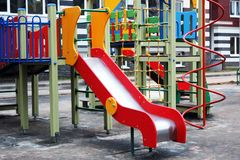 Children`s playground in the park stock images