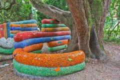 Children's playground park mosaic installation Stock Images