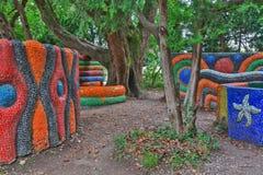 Children's playground park mosaic installation Royalty Free Stock Photo