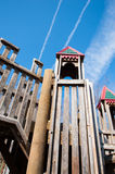 Children's playground with play structure. Children's park with wooden play structure playground Royalty Free Stock Images