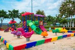 Children' s playground at public park. Children s playground at public park Stock Photos