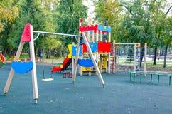 Children`s playground in the public park. Russia. Autumn. stock image