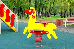 Children`s playground in the public park. Russia. Autumn. stock photography