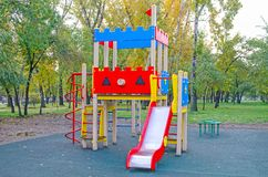 Children`s playground in the public park. Russia. Autumn. royalty free stock image