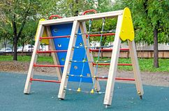 Children`s playground in the public park. Russia. Autumn. stock photos