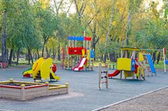 Children`s playground in the public park. Russia. Autumn. royalty free stock photography